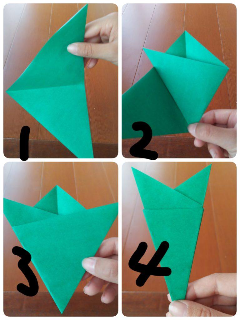 切り紙の折り方を説明する